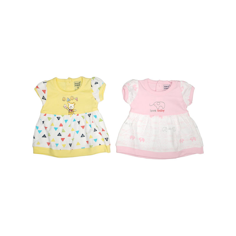 Mee Mee Girls Casual Frocks - Pink & Yellow Pack Of 2
