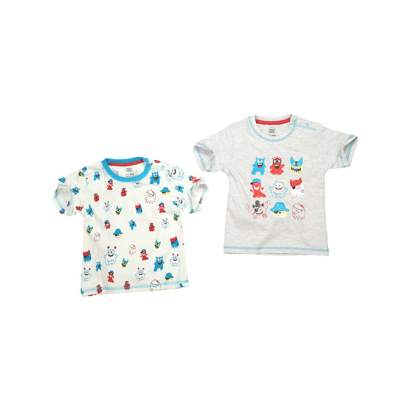 Mee Mee T-Shirts For Boys - Grey Melange & White Pack Of 2