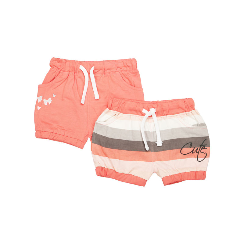Mee Mee Short For Girls - Coral Stripe & Coral Pack Of 2