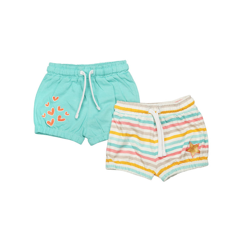 Mee Mee Short For Girls - Multi Stripe & Mint Pack Of 2