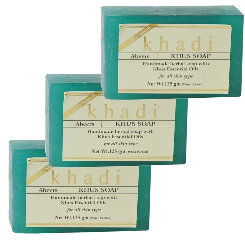 Abeers Khadi Handmade Herbal Soap With Khus Essential Oils - Pack Of 3