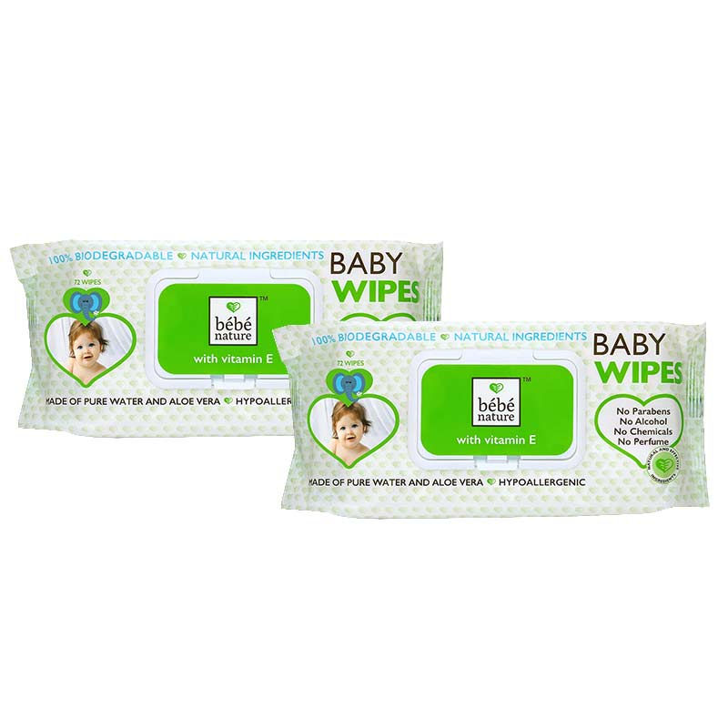 Bebe Nature Natural Biodegradable Wet Baby Wipes With Vitamin E - Pack Of 2