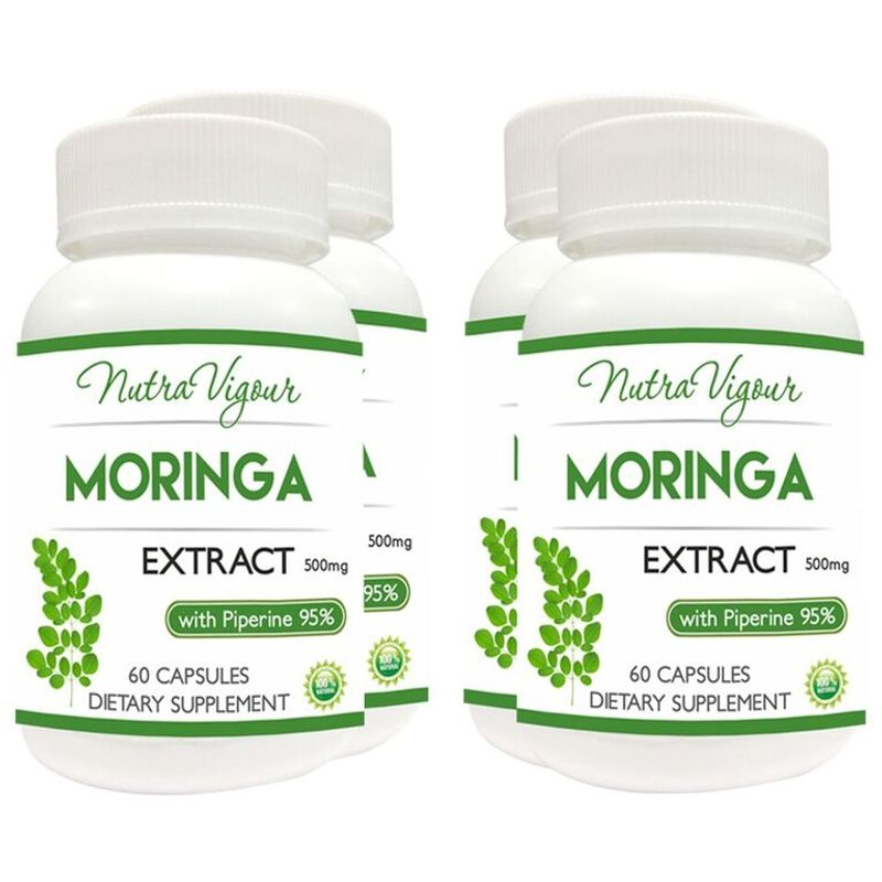 Nutravigour Organic Moringa Extract Dietary Supplement - Veg 60 Capsules - Pack Of 4