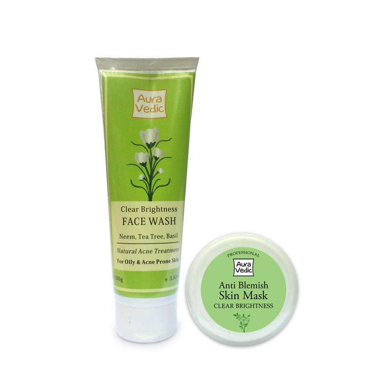Auravedic Clear Brightness Neem Face Wash + Anti Blemish Face Mask With Neem