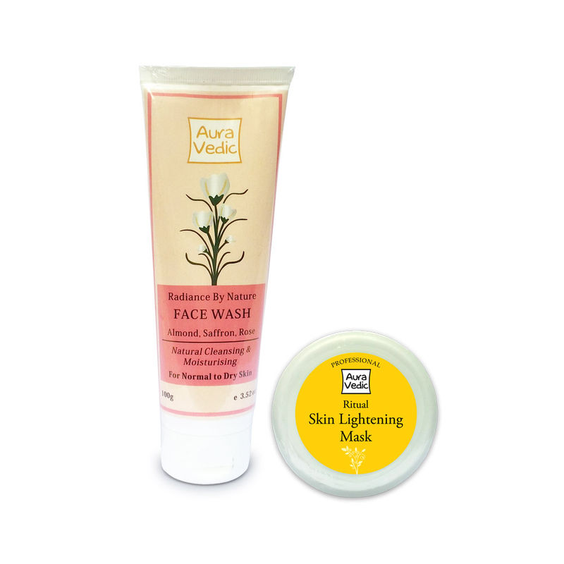 Auravedic Radiance By Nature Face Wash + Ritual Skin Lightening Mask