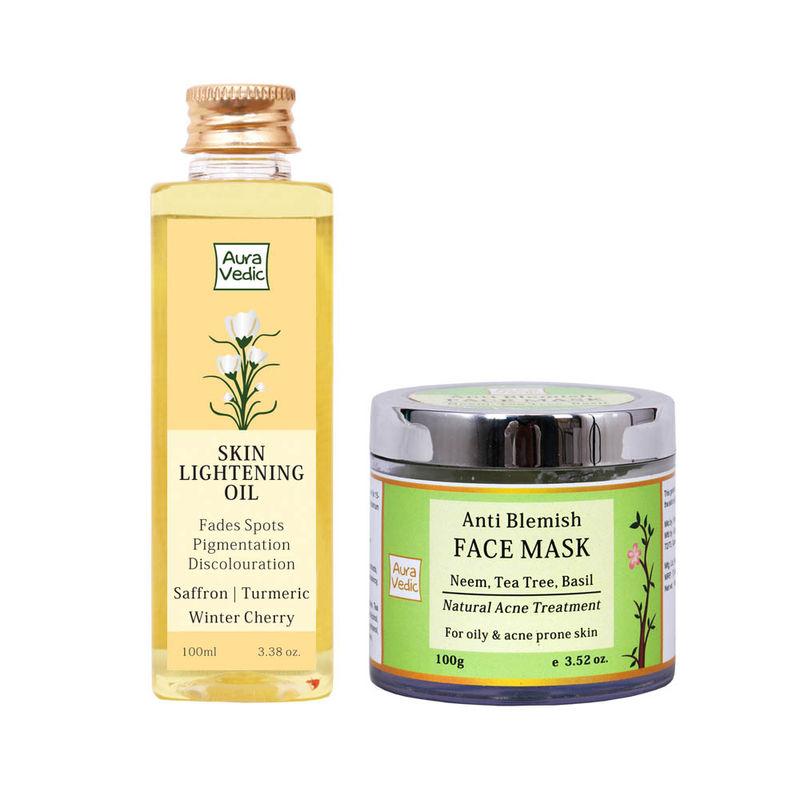 Auravedic Skin Lightening Oil + Anti Blemish Neem Face Mask