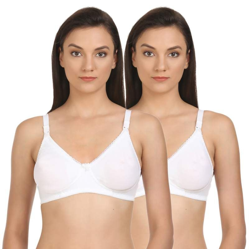 Bodycare Lightly Padded T-Shirt Bra In White Color (Pack Of 2)