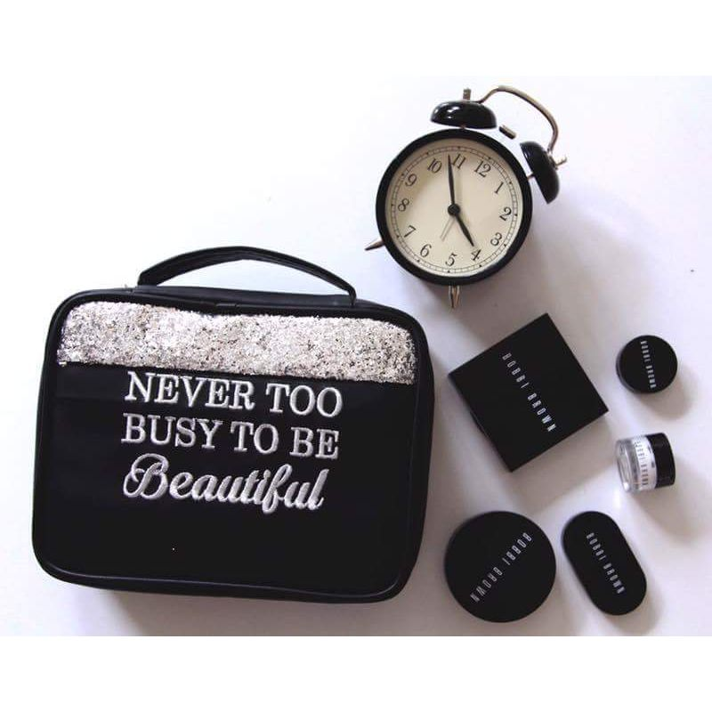 Organice Black Glitter Never Too Busy To Be Beautiful Cosmetic Organizer