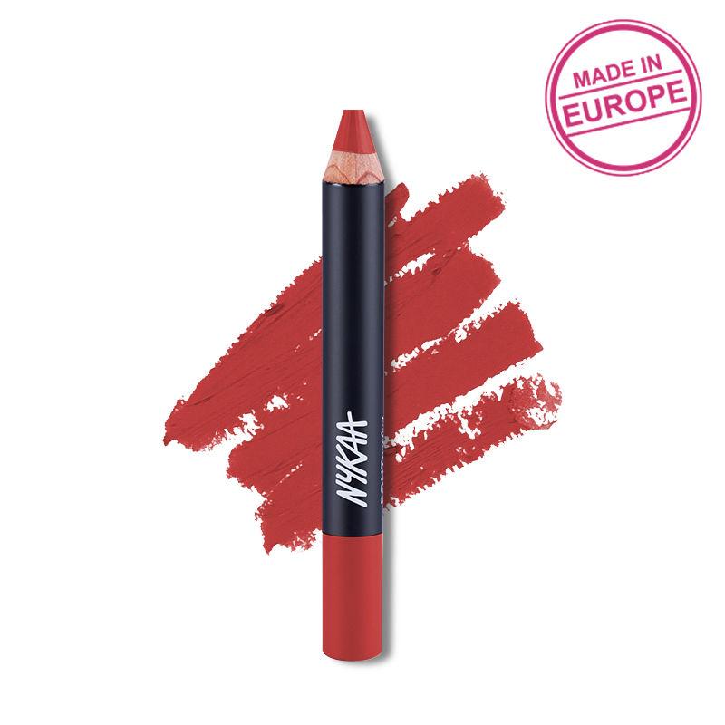 Nykaa Pout Perfect Lip & Cheek Velvet Matte Crayon Lipstick - Brick Me Red 04