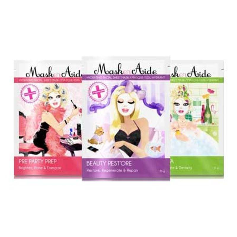 MaskerAide Beauty Rest'ore + Pre-Party Prep + Detox Diva Facial Sheet Mask (Pack Of 3)