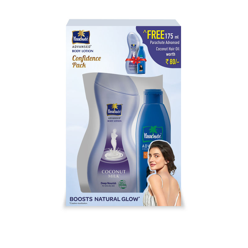Parachute Advansed Deep Nourish Body Lotion With Coconut Hair Oil With Free Worth Rs.80