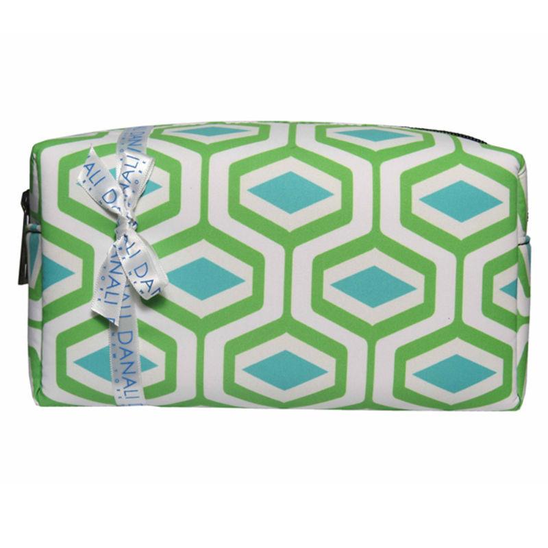 Danali - Cosmetic / Travel Pouch - Diamond Green Print With Zipper