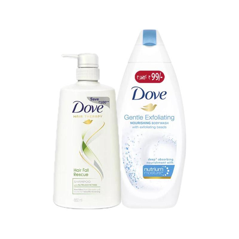 Buy Dove Hair Fall Rescue Shampoo & Get Gentle Exfoliating Nourishing Body Wash Free