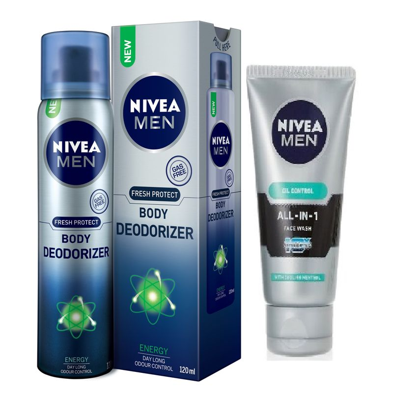 Nivea Men Fresh Protect Body Deodorizer - Energy + Free Men All In One Face Wash