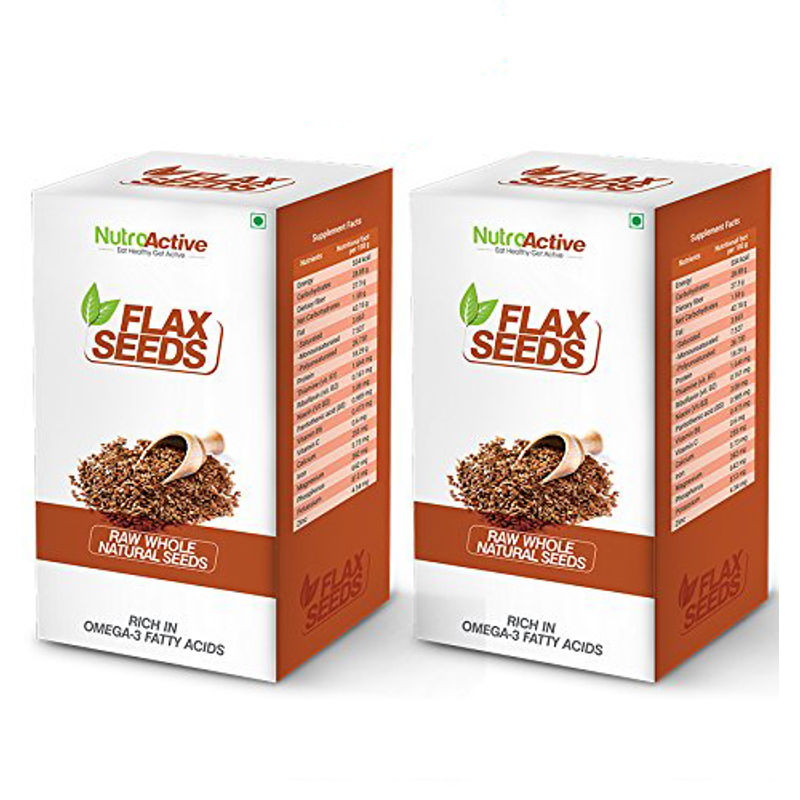 NutroActive Flax Seeds Raw Whole Natural Seeds (Pack Of 2)
