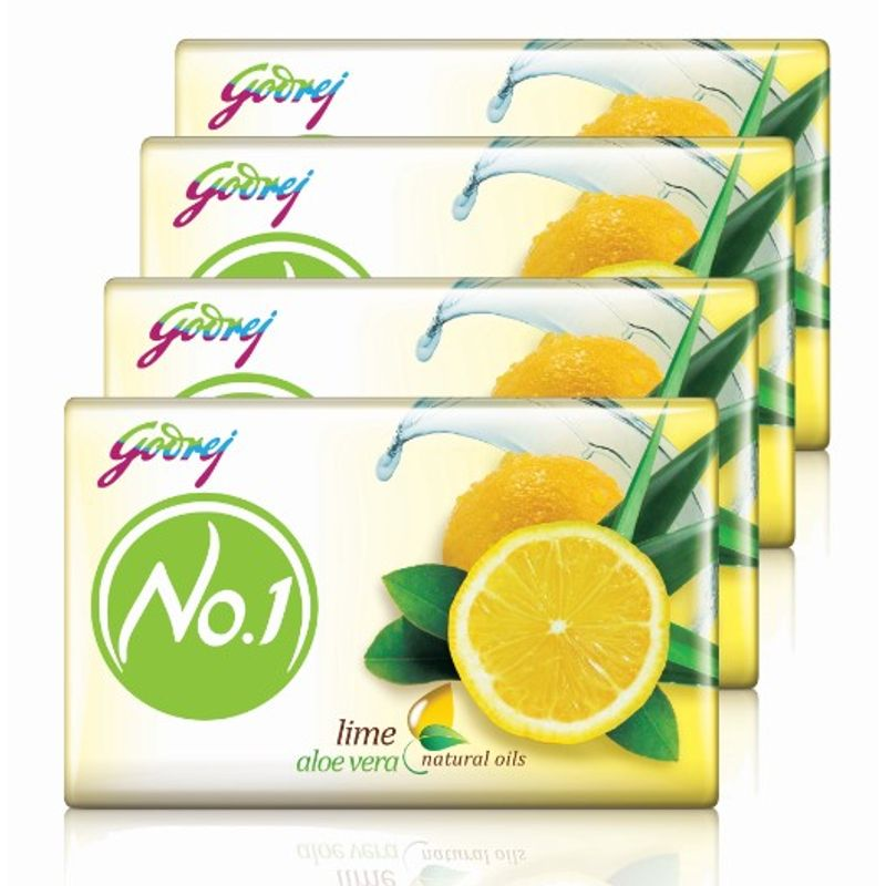 Godrej No.1 Lime & Aloe Vera Natural Oil Soap - Pack Of 4 (Save Rs.34)