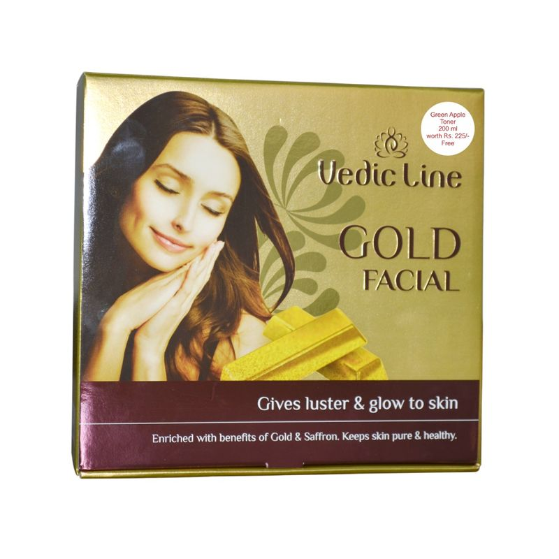 Vedic Line Gold Facial Kit With Green Apple Toner Free Worth Rs.225