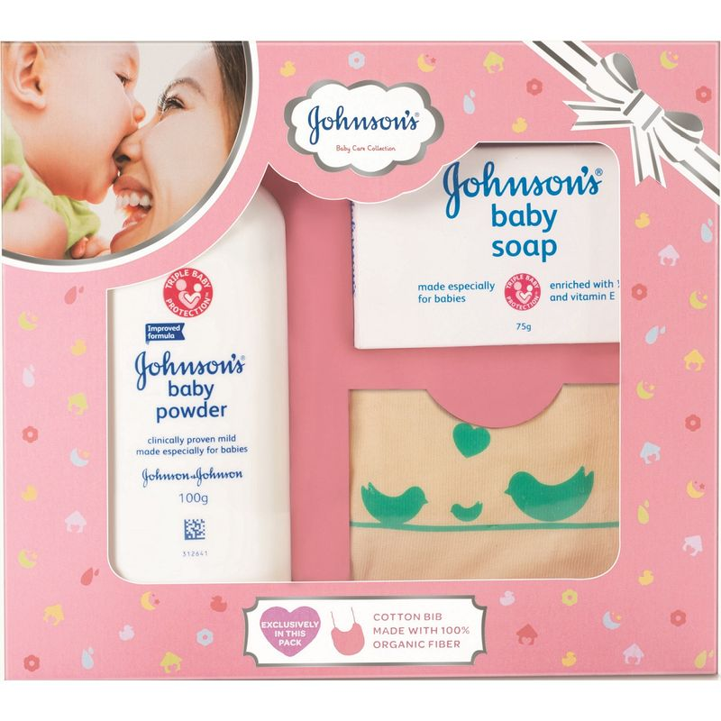 Johnson's Baby Care Collection With Organic Cotton Bib (3 Gift Items, Pink)