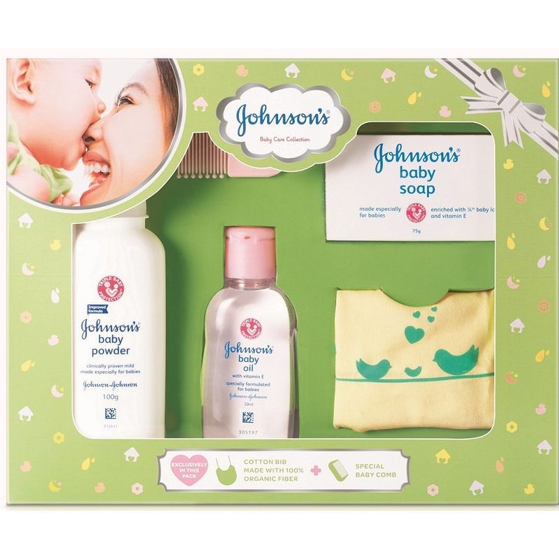 Johnson's Baby Care Collection With Organic Cotton Bib And Baby Comb (5 Gift Items, Green)