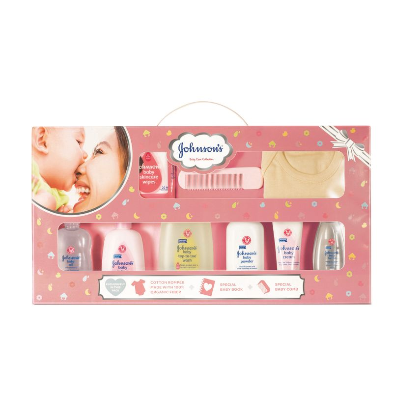 Johnson's Baby Care Collection With Organic Cotton Baby Romper And Baby Milestone Book (11 Gift Items, Pink)