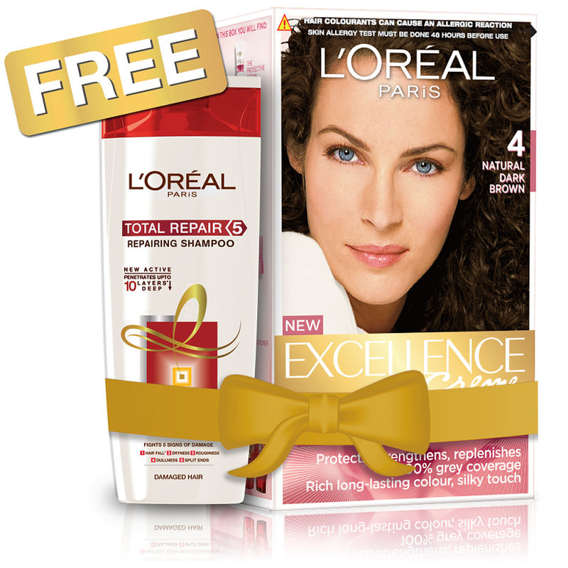 L'Oreal Paris Excellence Creme Hair Color - 4 Natural Dark Brown + Free Total Repair 5 Shampoo