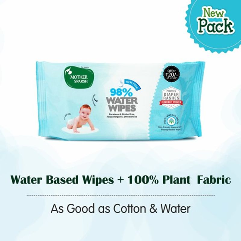 Mother Sparsh Water Wipes (80 Baby Wipes) Rs.20 Off