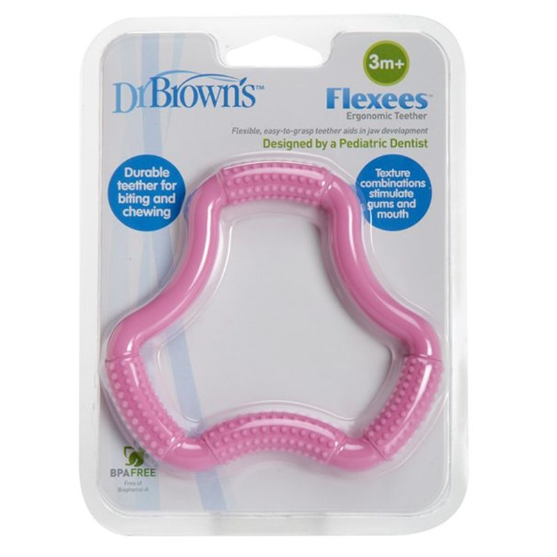 Dr. Brown's A-Shaped Flexees Teether (3M+) - Pink
