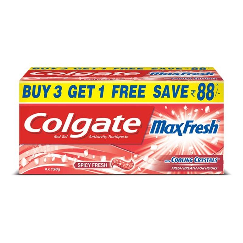 Colgate Maxfresh Spicy Fresh Toothpaste Buy 3 Get 1 Free (Save Rs.95)