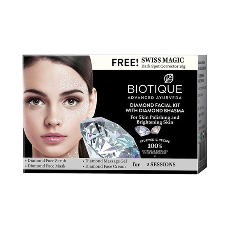 Biotique Diamond Facial Kit With Diamond Free Swiss Magic Dark Spot Corrector