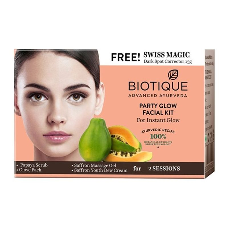 Biotique Party Glow Facial Kit For Instant Glow + Free Swiss Magic Dark Spot Corrector