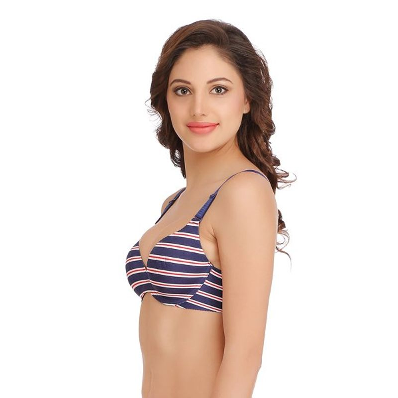 3420b690f7605 Clovia T-Shirt - Buy Clovia Underwired Striped Laser Cut T-shirt Bra With  Multi-Colorway Straps - Blue (36B) Online in India