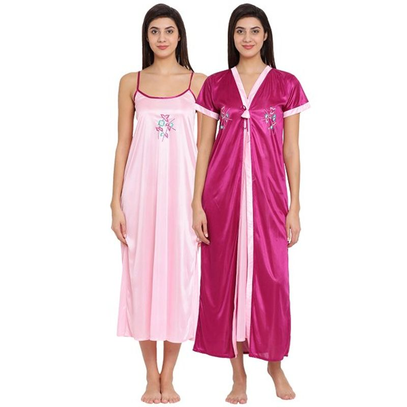 Clovia Satin Long Nighty   Robe Set- Pink (Free Size) at Nykaa.com ff0f1e629