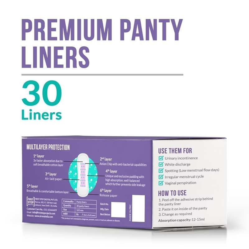 Sirona Ultra-Thin Premium Panty Liners Made With Organic Cotton (Regular Flow)