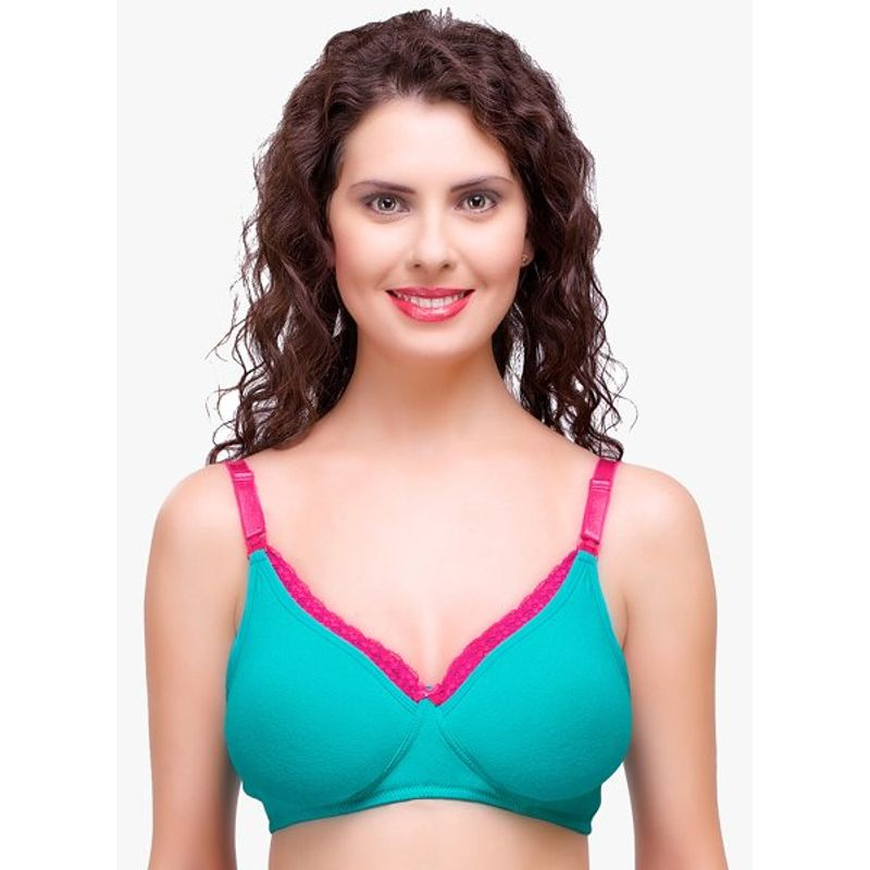 Inner Sense Organic Antimicrobial Laced Soft Women's Nursing Bra - Green