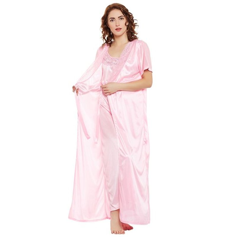 Clovia Satin Nighty   Robe Set - Pink (Free) at Nykaa.com 984b7edf8