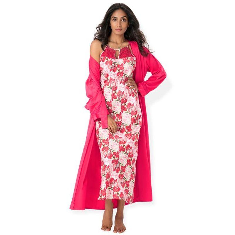Fasense Nightdress - Buy Fasense Women Satin Nightwear 2 PCs Set Of Nighty    Wrap Gown - Pink Online in India  27eaed75e