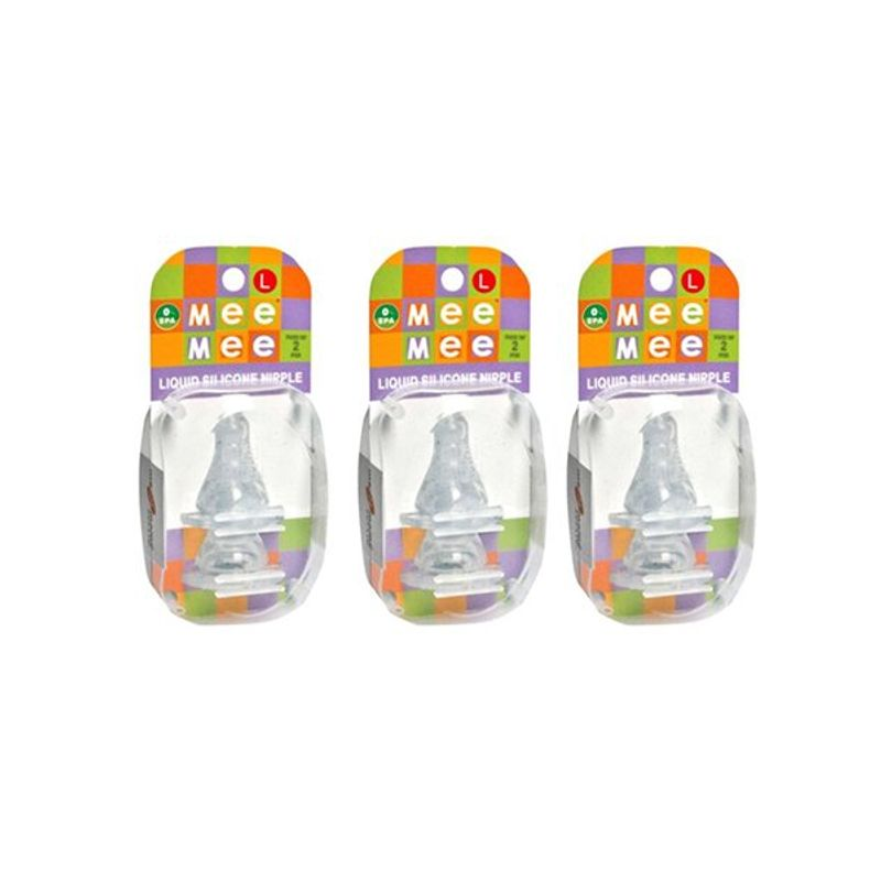 Mee Mee Baby Nipple - White (Pack Of 3)