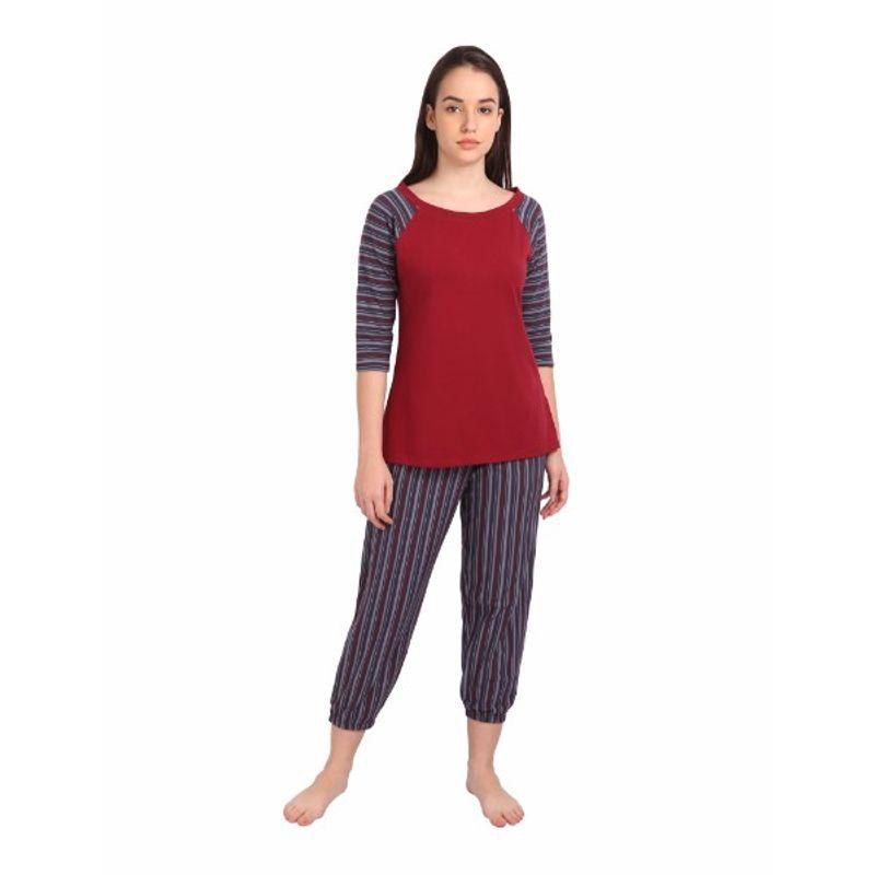 44c1795e7fb2 S.O.I.E Capri Harem Pants With Matching 3 4 Sleeve Top - Multi-Color (M)(M)