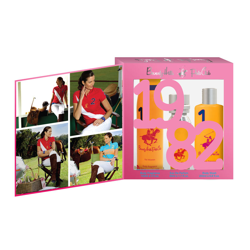 Beverly Hills Polo Club Women Body Fragrance, Body Wash And Eau De Parfum No.1 Gift Set
