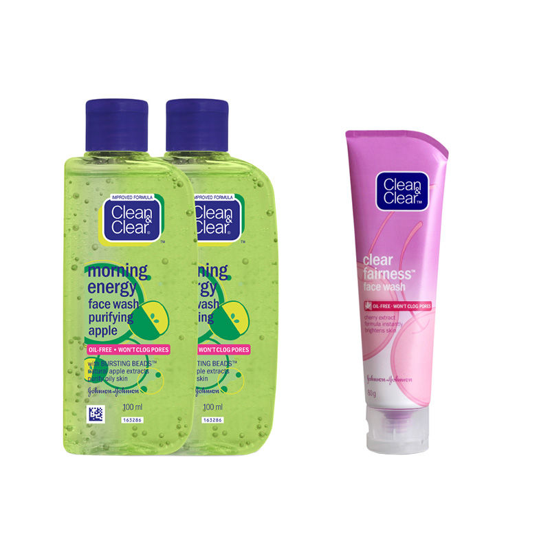 Clean & Clear Face Wash Combo Pack - Purifying Apple + Clear Fairness Facewash