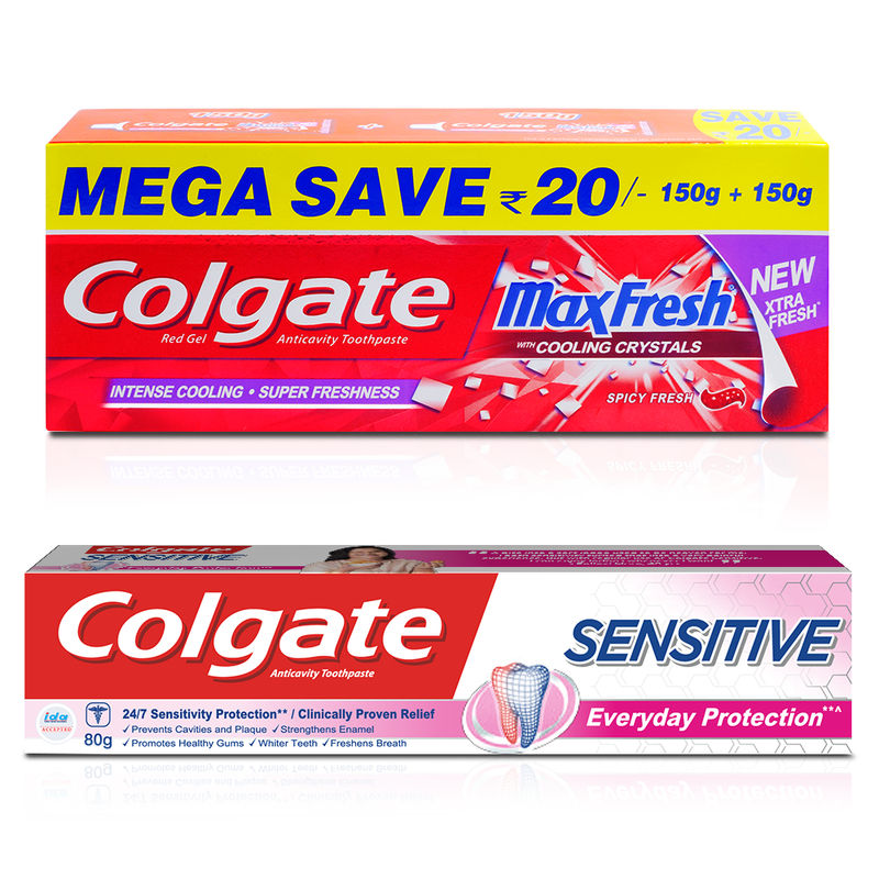 Colgate Sensitive Everyday Protection With Maxfresh Spicy Fresh Red Gel Saver Pack Toothpaste Combo