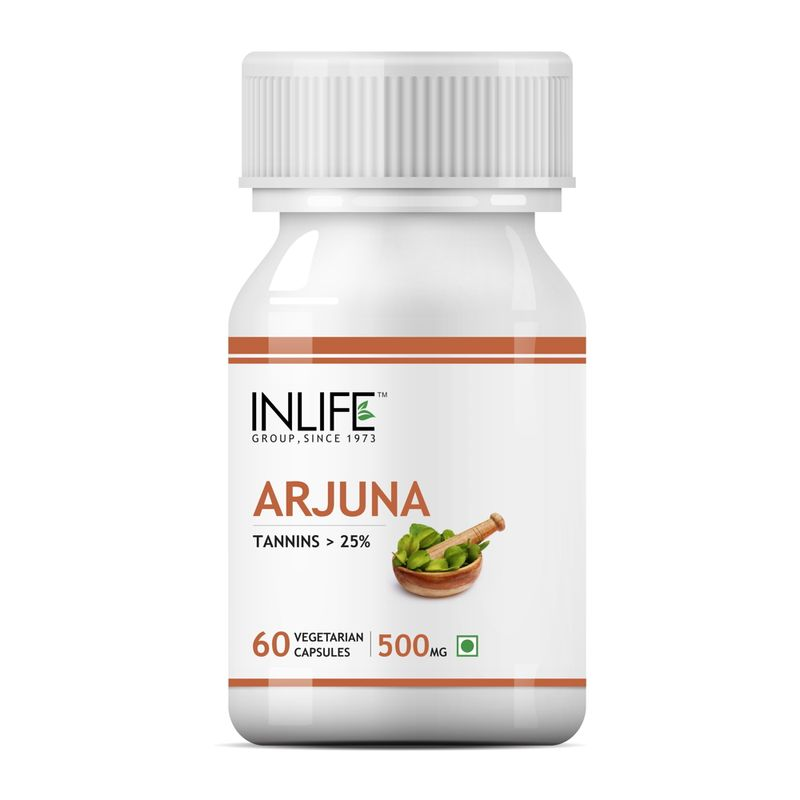 INLIFE Natural Arjuna Extract 500mg, 60 Veg Capsules For Cardiac & Brain Health