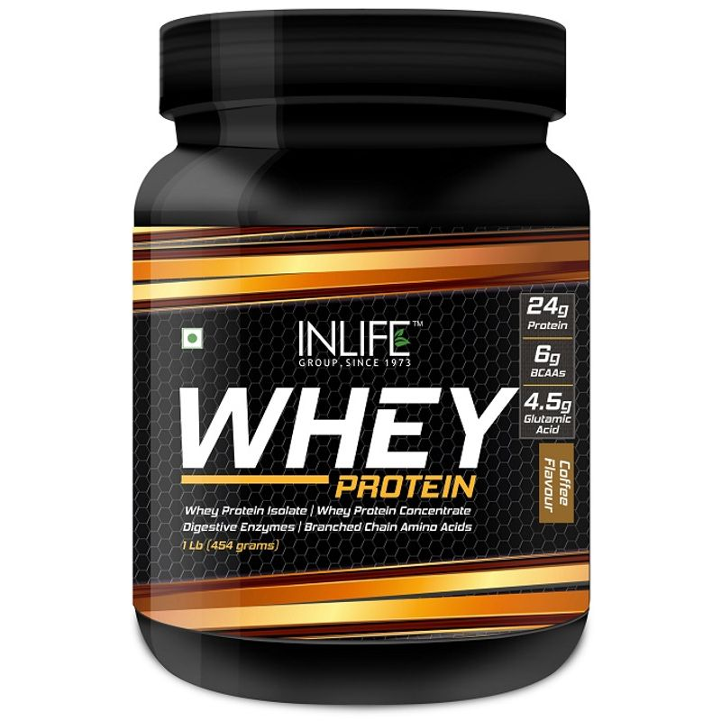INLIFE Whey Protein Powder Body Building Supplement Strawberry Flavour 908gm