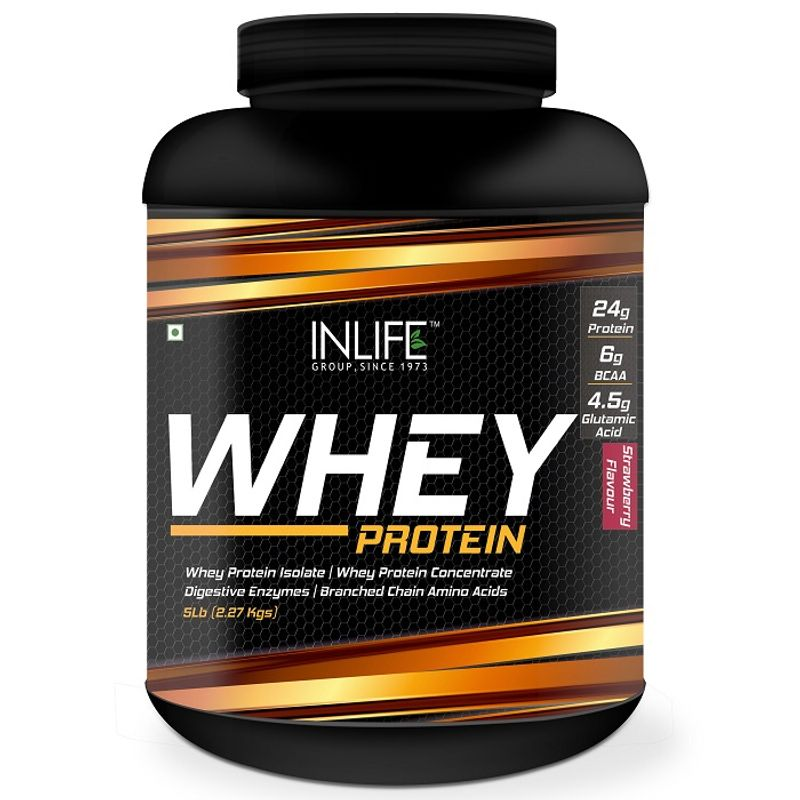 INLIFE Whey Protein Powder Body Building Supplement Strawberry Flavour 2.27Kg