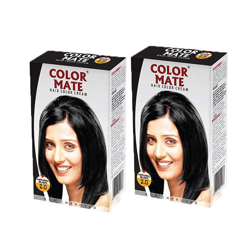 Color Mate Hair Color Cream - Natural Black (Pack Of 2)