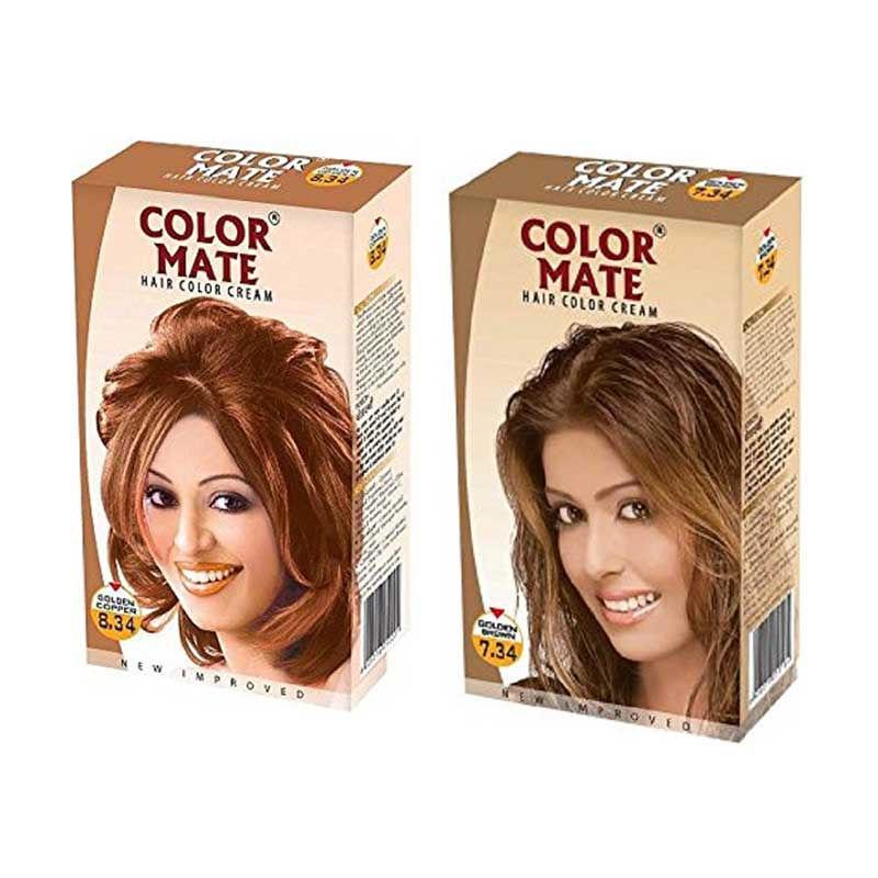 Color Mate Golden Brown & Golden Copper Hair Color Cream