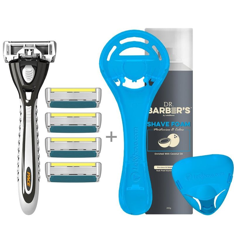 LetssShave Pace 6 Plus Razor (Ultra-Sharp Six Blade Design) For Men - Pack Of 4 Blades
