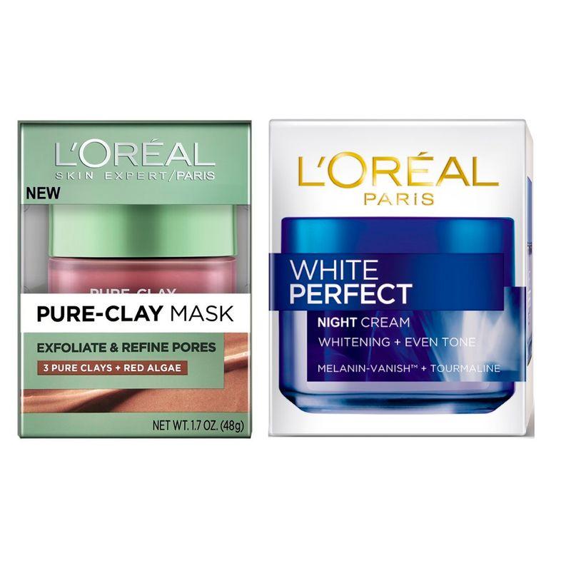 L'Oreal Paris Pure Clay Mask Exfoliate & Refine Pores + White Perfect Night Cream