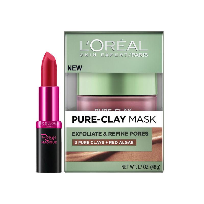 Buy L'Oreal Paris Pure Clay Mask Exfoliate & Refine Pores & Get Rouge Magique Lipstick Free