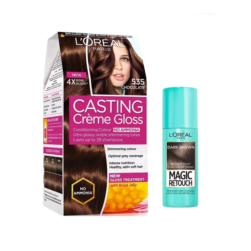 L'Oreal Paris Casting Creme Gloss Hair Color - 535 Chocolate + Magic Retouch Instant Root Concealer - 2 Dark Brown